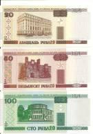 BIELORUSSIE  20-50-100 RUBLEI 2000 UNC P 24-25-26 ( 3 Billets ) - Belarus
