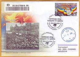 2018 Moldova Moldau Moldavia 100 Years. Anniversary. Union Used FDC Romania  Basarabia Bessarabia - Moldova