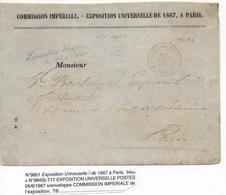 1867 - TRES RARE OBLITERATION T17 De L'EXPOSITION UNIVERSELLE De 1867 Sur ENVELOPPE De La COMMISSION IMPERIALE => PARIS - Marcofilia (sobres)