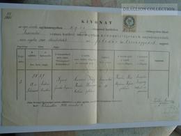 ZA179.12  Old Document- Hungary  -Felnémet -Eger - Agnes (1857) NAGY -Herengen - Szarvaskő - Puchlin Kázmér P. 1883 - Naissance & Baptême