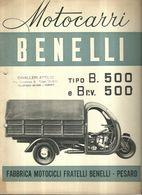 """2290 """" MOTOCARRI BENELLI - TIPO B.500 E B R.v. 500 - 12 PAGINE + COPERTINE-FINE ANNI '30  """" CATALOGO ORIGINALE - Moto"""