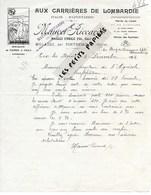 Italie - MULAZZO Par PONTREMOLLI - Facture RICCARDO - Carrières De Lombardie, Pierre De Faulx - 1923 - REF 275 - Italie