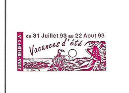 Facture Avec Vignette Congés 1993 / 39 VILLEVIEUX / Jura Relief / Etiquettes Adhésives - Vignetten (Erinnophilie)