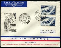 FRANCE - 20° Anniversaire Liaison FRANCE/AMERIQUE DU SUD 7/3/48 - C.S - TB - 1927-1959 Brieven & Documenten