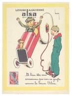 """Cpsm Levure Alsacienne Alsa , Enfants, Automobile, Pneu, Mascotte """" Souris """", Signée Leroy - Publicité"""