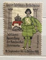 GRAZ  1908 GRAZER JUBILAUMS HERBSTMESSE    ...ERINNOFILO CHIUDILETTERA ETICHETTA PUBBLICITARIA D'EPOCA - Francobolli