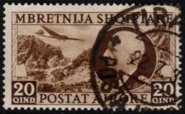 ~~~  Albania 1939 - Airmail Key Value - Mi. 312 (o) CV 25.00 Euro ~~~ - Albania