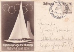 Third Reich Postal Stationary 1936 Olympic Games - Sailing In Kiel P/m Berlin Olympiade Stadt 1936  (G99-19) - Sommer 1936: Berlin