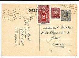 EP Louis II Storch & Fr. G 1 + TP Yv.171A-225 MONACO 8.XI.41 Vers GENEVE. TB - Postal Stationery
