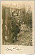 Photo Carte Postale MILITAIRE. Soldat Poilu De Garde 1914 15 Photographe Rue Corbeau à Paris 10 - Personnages