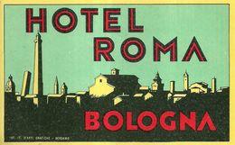 """2297 """" HOTEL ROMA - BOLOGNA """"  ETICHETTA D'ALBERGO ORIGINALE - Adesivi Di Alberghi"""