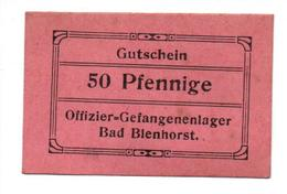 GEFANGENENLAGER GELD LAGERGELD BILLET CAMP BAD BLENHORST OFFICIER PRISONNIER ALLEMAGNE KG POW GUERRE 1914 1918 - [10] Emissions Militaires