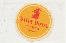 E H 667 - ETIQUETTE   HOTEL - SAVOY HOTEL  MALMO  SWEDEN - Etiquettes D'hotels