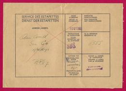 Enveloppe Du Service Des Estafettes Belges Datée De 1965 - Expédiée Du 1er Carabiniers Prins Boudewijn - Postmark Collection