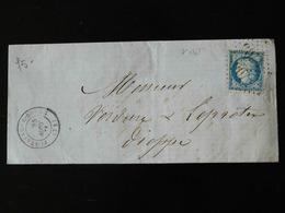 LETTRE DE FONTAINE LE BOURG POUR DIEPPE  -  1876  - - Storia Postale