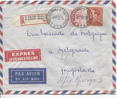 PR6274/ TP 848B Poortman-859 S/L.Avion Exprès Recommandés C.St.Gilles 1962 V.Yougoslavie C.d'arrivée Beograd Belgrade - Postmark Collection