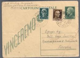 Cartolina Postale Vinceremo Cancellato Viaggiata 1945 Cattiva Conservazione C.2084 - Italia