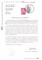 """NOTICE PHILATELIQUE EXCLUSIVE """"MARIANNE L'ENGAGEE"""" - Postdokumente"""