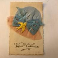 Carte Brodée - Bonnet De Sainte Catherine 1947 - Embroidered
