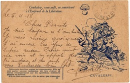 FRANCE CARTE FM ILLUSTREE 1914-1918 AYANT CIRCULE THEME CHEVAL - Pferde