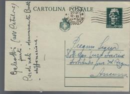 Cartolina Postale Luogotenenza Viaggiata 12 11 1945  C.2086 - Italia