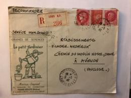 LSC Recommandée De 1942 Lyon RP Avec Entête Du Petit Jardinier à Pierre Benite Pour Vilmorin Andrieux Avignon - 1941-42 Pétain