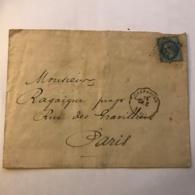 """LSC De Cherbourg Avec Timbre Napoléon 20c Bleu Oblitération Losange """"9 Cn"""" ? + Cachet """"15 CH. C"""" ? Cachet Naval ? - Postmark Collection (Covers)"""