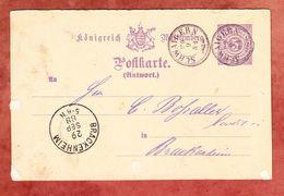 P 27 II Ziffer Antwortteil, Schwaigern Nach Brackenheim 1888 (69205) - Wurttemberg