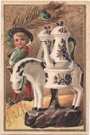 Figurina, Chromo, Victorian Trade Card. Au Fidèle Berger. Ceramiche. Faiences. Delft. Vieillemard. - Andere