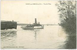 95 NOISY-SUR-OISE. Un Remorqueur Et Sa Péniche Sur L'Oise 1918 - France