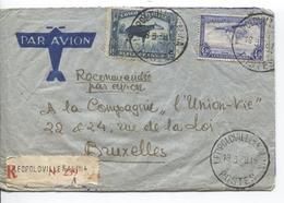 PR6280/ TP 178A-TPA 11 S/L.Avion Recommandée C.Léo 1938 V.Belgique BXL - Congo Belge