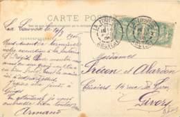DOUBLE CACHET LA LOUVESC - 1906 - Type Blanc 111 X 2 -  CPA  07 - LA LOUVESC -  BASILIQUE - Marcophilie (Lettres)