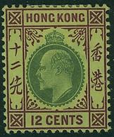 HONG KONG 1903 KE7 12c Single Wmk. Mounted Mint SG 68 - Hong Kong (...-1997)