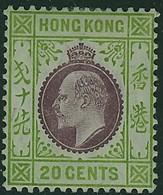 HONG KONG 1911 KE7 20c Multiple CA Wmk. Mounted Mint SG 96 - Hong Kong (...-1997)