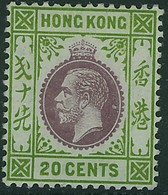 HONG KONG 1912 KGV 20c Multiple CA Wmk. Mounted Mint SG107 - Hong Kong (...-1997)