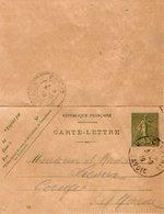 TB 2448 - Entier Postal Type Semeuse - Carte - Lettre - CHAMONIX Pour CONGIS ( S & M ) - Postal Stamped Stationery