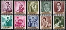 Spain, 1965, Julio Romero De Torres - Stamp Day, Set, MNH, Mi# 1536/45 - 1931-Tegenwoordig: 2de Rep. - ...Juan Carlos I