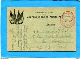 GUERRE 14-18- Marcophilie-  Carte  F M-illustrée 4 Drapeaux R F- Cachet  Rergt Territorial  -nov 1914 - Postmark Collection (Covers)