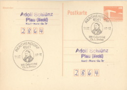 DDR Ganzsache Mit Sonderstempel Renthendorf 200. Geburtstag Brems 1987 - Marcofilia - EMA ( Maquina De Huellas A Franquear)