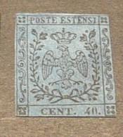 K18592 - Stamp No Gum Hinged - Modena -1852 -40 Cent Blue - Modena