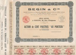 Indochine - Begin Et Cie - Action De 100 Piastres / 1949 / Blanquette - Asie