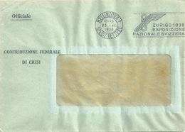 """Motiv Brief  """"Contribuzione Federale Di Crisi, Bellinzona""""           1938 - Storia Postale"""