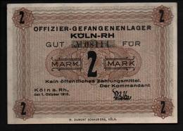 GEFANGENENLAGER GELD LAGERGELD BILLET CAMP KOLN RH OFFICIER PRISONNIER ALLEMAGNE KG POW GUERRE 1914 1918 - [10] Military Banknotes Issues