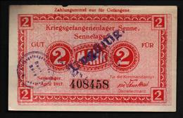 GEFANGENENLAGER GELD LAGERGELD BILLET CAMP SENNE PRISONNIER ALLEMAGNE KG POW GUERRE 1914 1918 - [10] Military Banknotes Issues