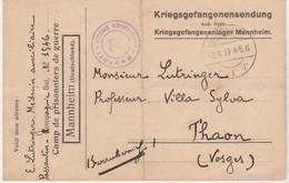 Carte PG Prisonnier Guerre 1917 / Camp De Mannheim Allemagne / Médecin Auxiliaire / Censure / Kriegsgefangenenlager - 1914-18