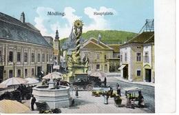 MÖDLING - Hauptplatz, Markt, Pestsäule, Pferdefuhrwerk, 7.9.1914 - Mödling