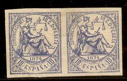 ESPAÑA Edifil 145s* Mh SIN DENTAR/PAREJA Horizontal 10 Céntimos Azul 1874  NL338 - 1873-74 Regentschaft