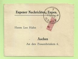 BZ 88 (Halve Zegel / Demi-timbre) Op Drukwerk (imprime) Stempel EUPEN,  10c 1/2 = 5c Port !!!!! (RARE)!!!! (K4839) - [OC55/105] Eupen/Malmedy