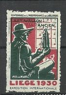 BELGIUM Vignette 1930 Exposition Internationale LIEGE O - Erinnophilie