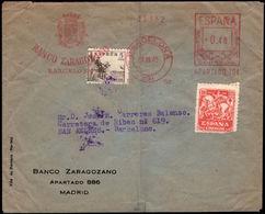 España 1945. Carta De Madrid A Copenhague. Franqueo Mecanico Y Complementario. - Marcofilia - EMA ( Maquina De Huellas A Franquear)